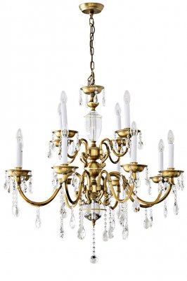 """ELYSEE"" (Ø105 cm) Crystal chandelier classic/Antique brass (12 arms)"